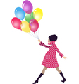 Pregnant woman walking with balloons vector image vector image