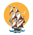 sail ship colorful emblem vector image vector image