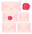 Set of pink letters with romantic wax seal vector | Price: 1 Credit (USD $1)