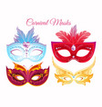 set venetian painted carnival vector image