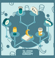 sleep color concept isometric icons vector image vector image