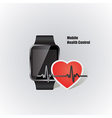 smartwatch with heart beat symbol vector image vector image