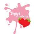 Splash of strawberry yogurt vector image