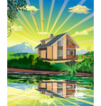 summer country landscape the lake house swan on vector image vector image