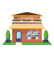 sweet shop facade isolated icon vector image vector image