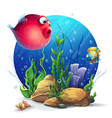 undersea world with funny red fish vector image vector image