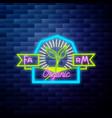 vintage farm emblem glowing neon vector image vector image
