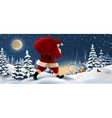 winter landscape with Santa Claus in the vector image vector image