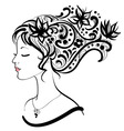 woman face with floral hairstyle vector image vector image