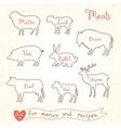 Set drawings of meat symbols beef pork lamb vector image