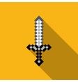 cartoon sword pixels sword computer game weapon vector image
