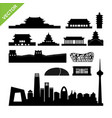 beijing landmark and skyline silhouettes vector image
