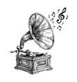 Hand-drawn vintage gramophone with music notes vector image