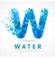 aqua w water logo vector image vector image