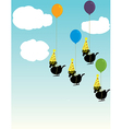 Birds tied to balloons vector image