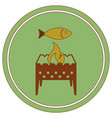 brazier grill with fish icon vector image