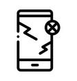 broken smartphone icon outline vector image vector image