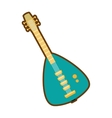 Cartoon green electric guitar bass instrument icon