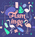 childish summer design with flamingo tropical vector image