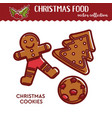 christmas food or snack gingerbread cookies vector image vector image