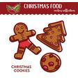 christmas food or snack gingerbread cookies vector image