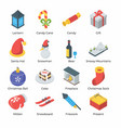 christmas isometric icons pack vector image