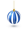 christmas tree shiny blue ball new year vector image vector image