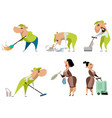 cleaning workers on white vector image vector image