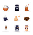 coffee shop cartoon flat set vector image