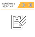 contract signing editable stroke line icon vector image