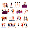 Dancing Club People Flat Icons Set vector image vector image