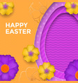 easter egg on spring flower pattern background vector image vector image