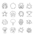 Explosions set icons in outline style Big vector image