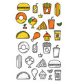 fast food meals thin line menu icons vector image vector image