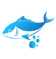 fish and water bubbles vector image