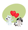 Funny bear and raccoon holding red heart shaped