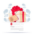 gift box with 8 march tag happy women day creative vector image