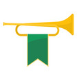 golden bugle with green ribbon on it vector image vector image