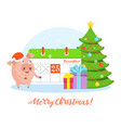 greeting card with funny merry pig in santa claus vector image vector image