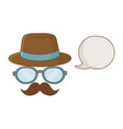 hat glasses and moustache vector image vector image