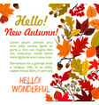 hello autumn poster template with fall leaf border vector image vector image