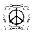 international peace day logo with hippie sign icon vector image vector image