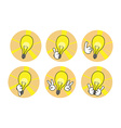 Lamp icons with hands set vector image
