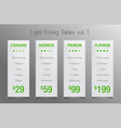 Light pricing tables - set of four price banners vector image vector image