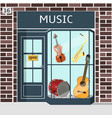 music shop s building facade of brown brick vector image vector image