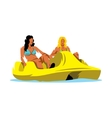 Pedal Boat and two woman Cartoon vector image