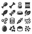 pet food icons set on white background vector image vector image
