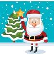 placing santa claus star tree snowfall blue vector image vector image
