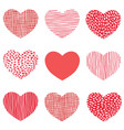 red hearts pattern of hand drawn sketch heart vector image vector image
