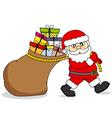 Santa Claus dragging a bag of gifts vector image vector image